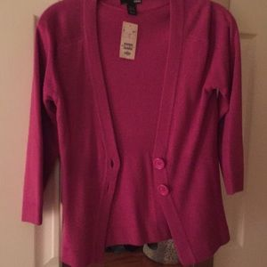 Magenta cardigan sweater with buttons
